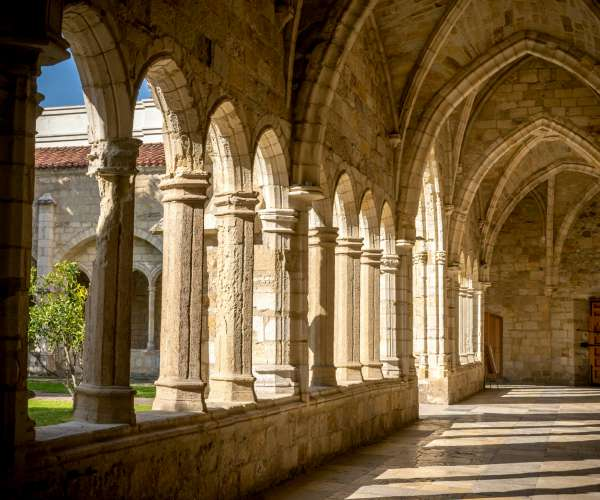 Santander Cathedral, detail of a hallway, columns and arches of the cloister